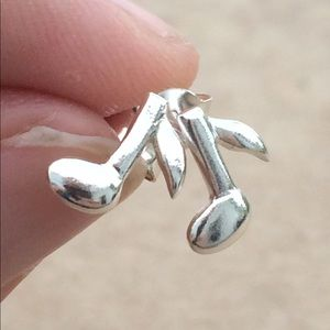Sterling Silver 925 Music Note Stud Earrings